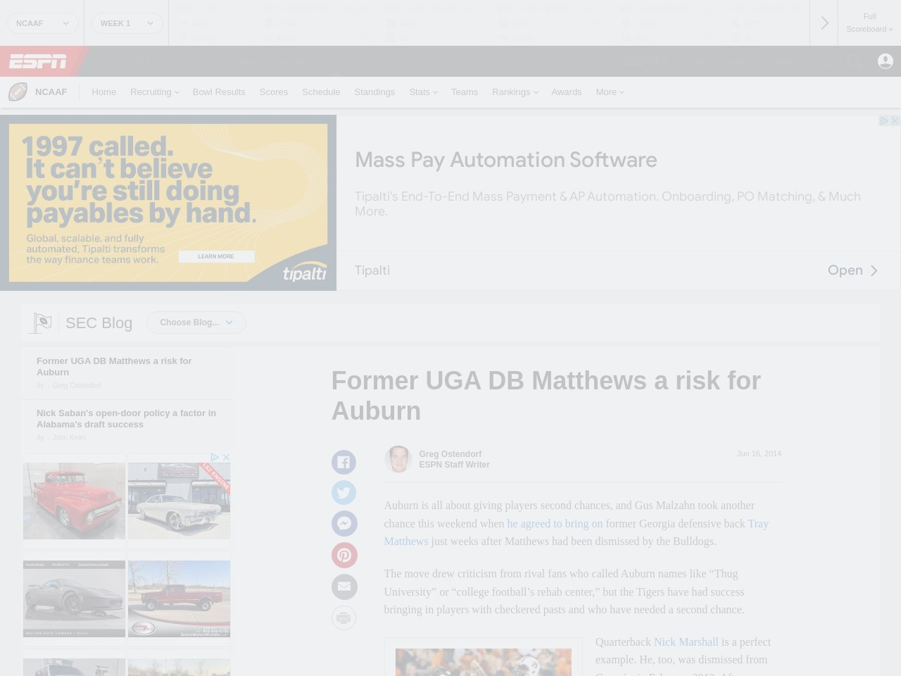 Former UGA DB Matthews a risk for Auburn