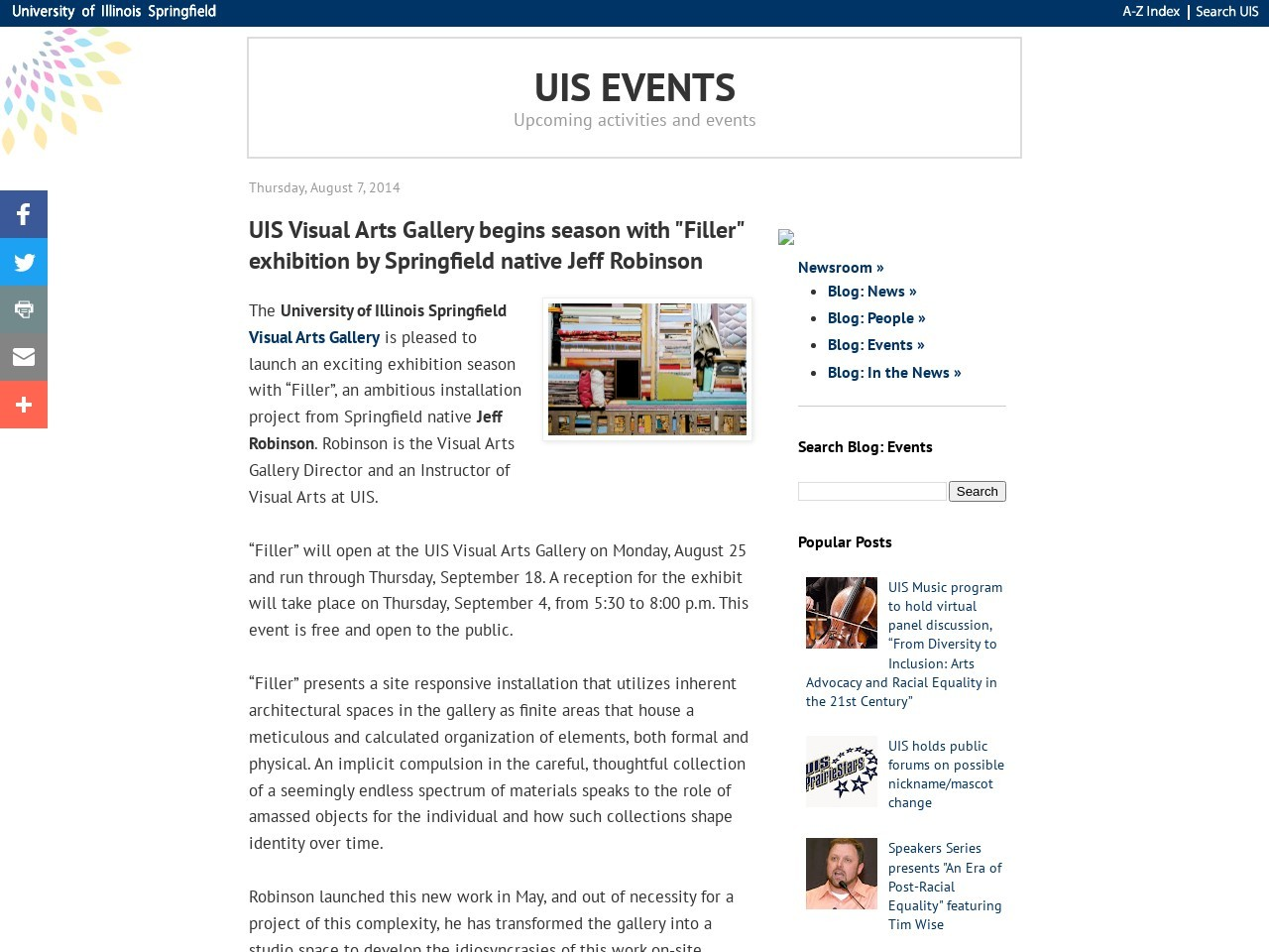 Events @ Illinois Springfield: UIS Visual Arts Gallery begins …