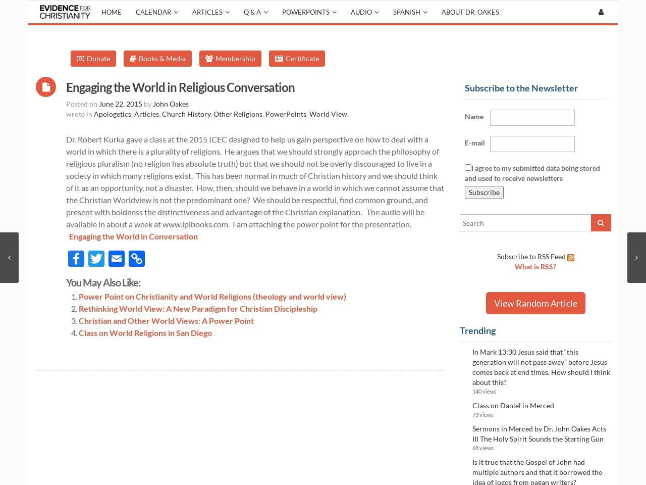 Engaging the World in Religious Conversation | Evidence …