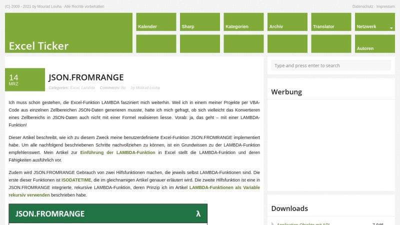 excel-ticker.de Vorschau, Excel Ticker