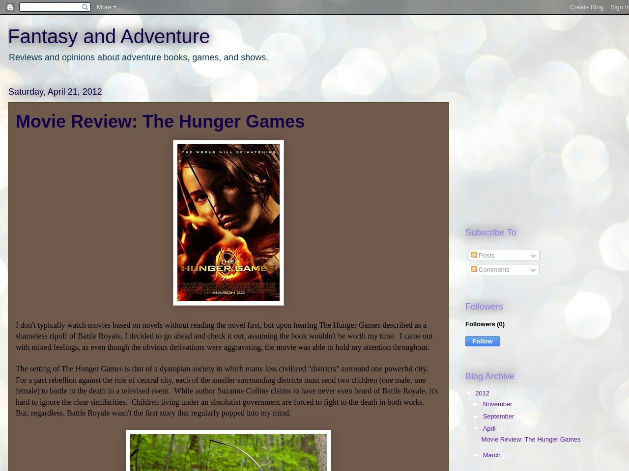 Fantasy and Adventure: Movie Review: The Hunger Games