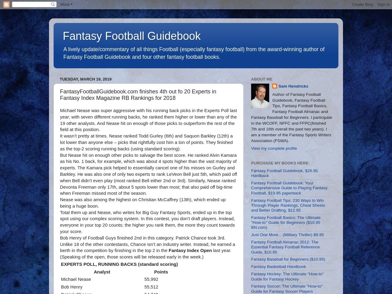 FantasyFootballGuidebook.com finishes 4th out fo 20 Experts in Fantasy Index Magazine RB Rankings for 2018