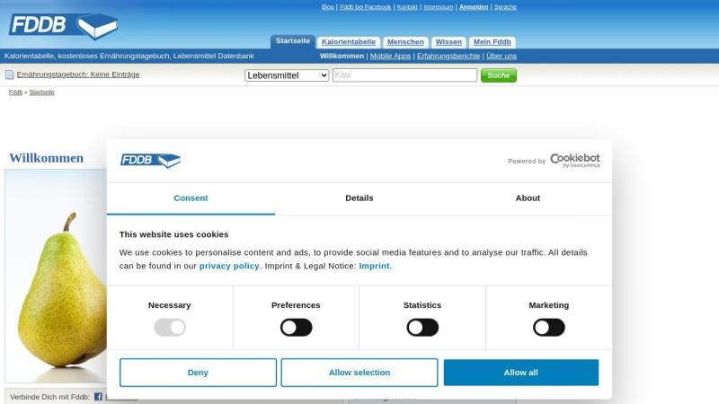 fddb.info Vorschau, Lebensmittel-Datenbank - fddb.info