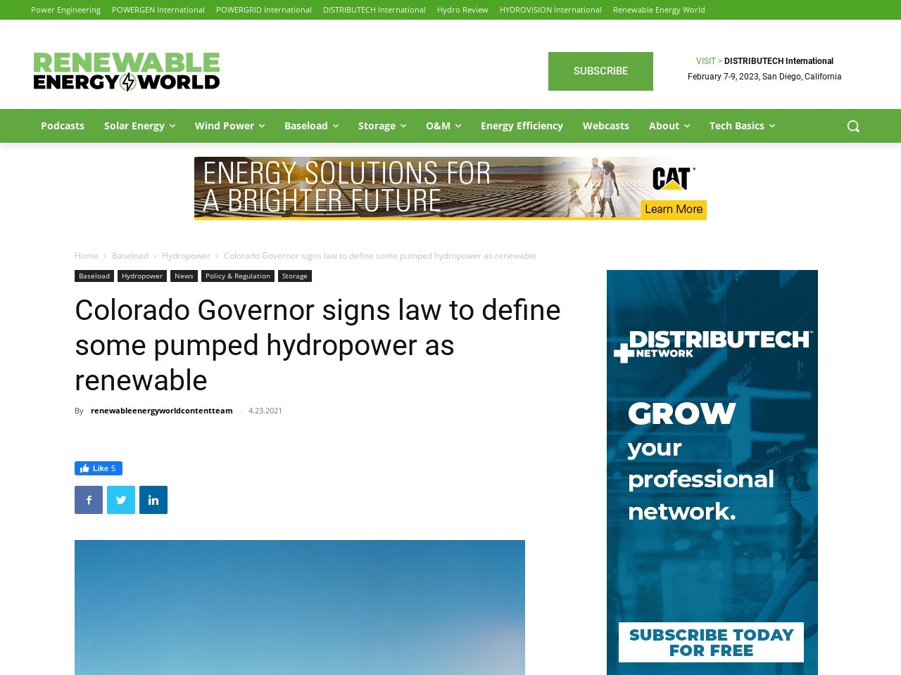Colorado Governor signs law to define some pumped hydropower as renewable