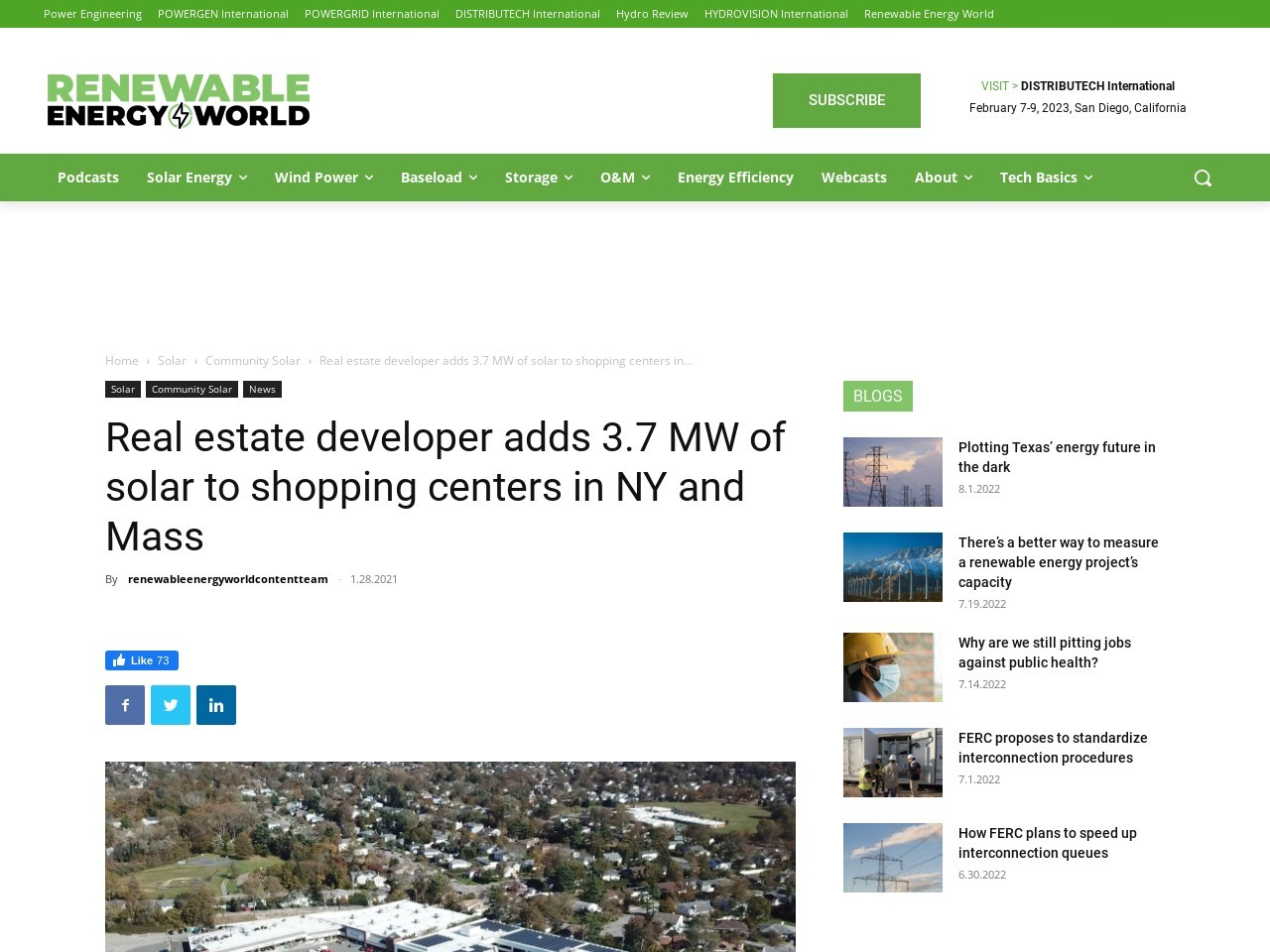 Real estate developer adds 3.7 MW of solar to shopping centers in NY and Mass