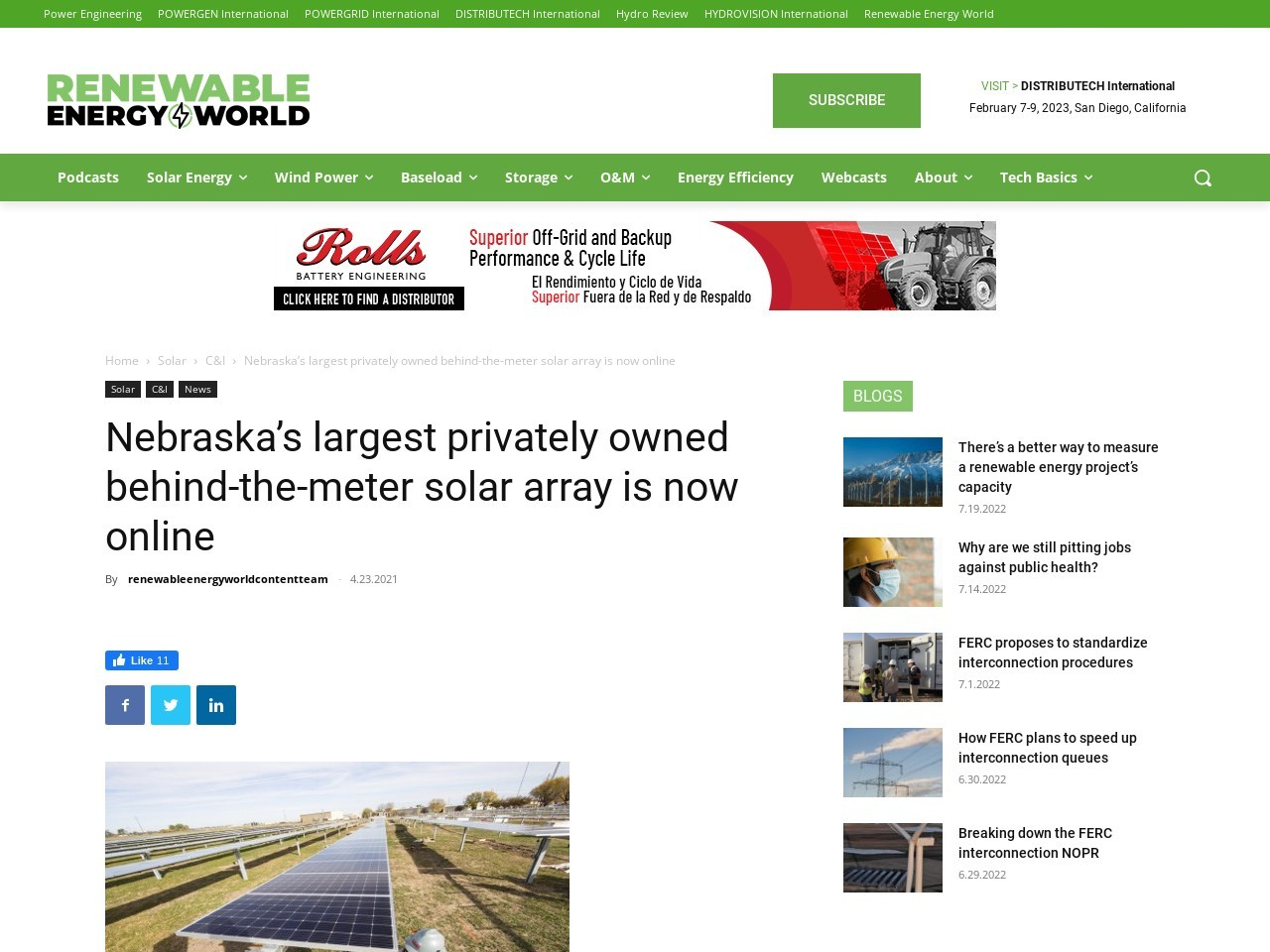 Nebraska's largest privately owned behind-the-meter solar array is now online