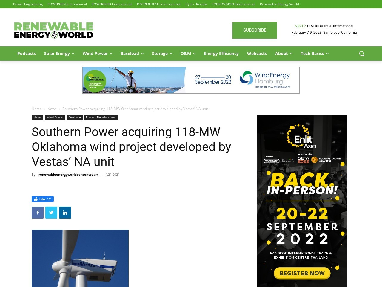 Southern Power acquiring 118-MW Oklahoma wind project developed by Vestas' NA unit
