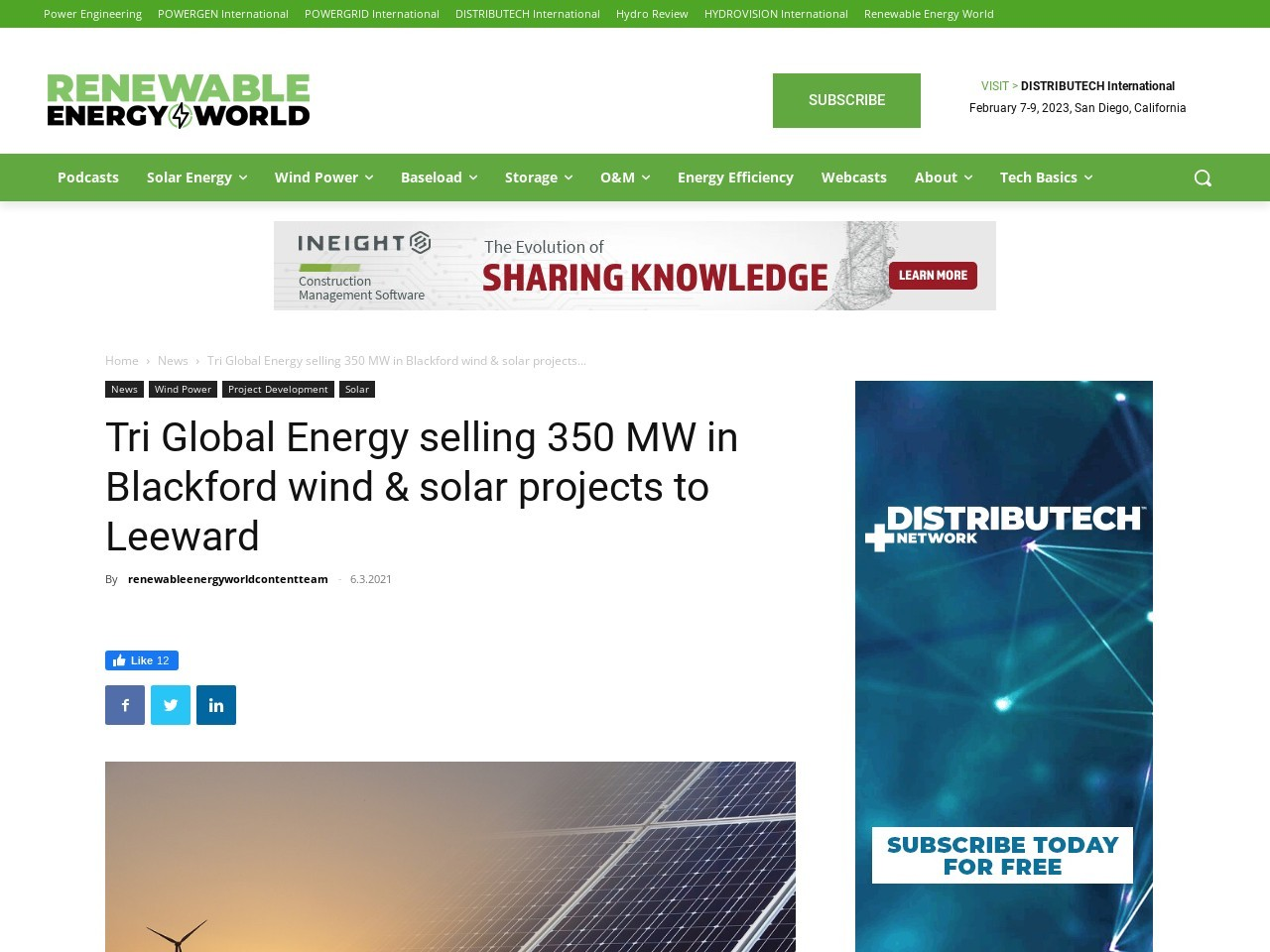 Tri Global Energy selling 350 MW in Blackford wind & solar projects to Leeward