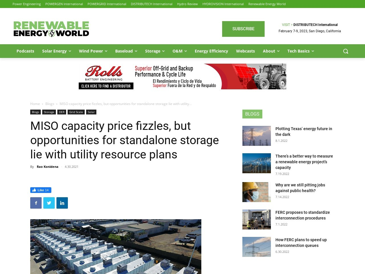 MISO capacity price fizzles, but opportunities for standalone storage lie with utility resource plans