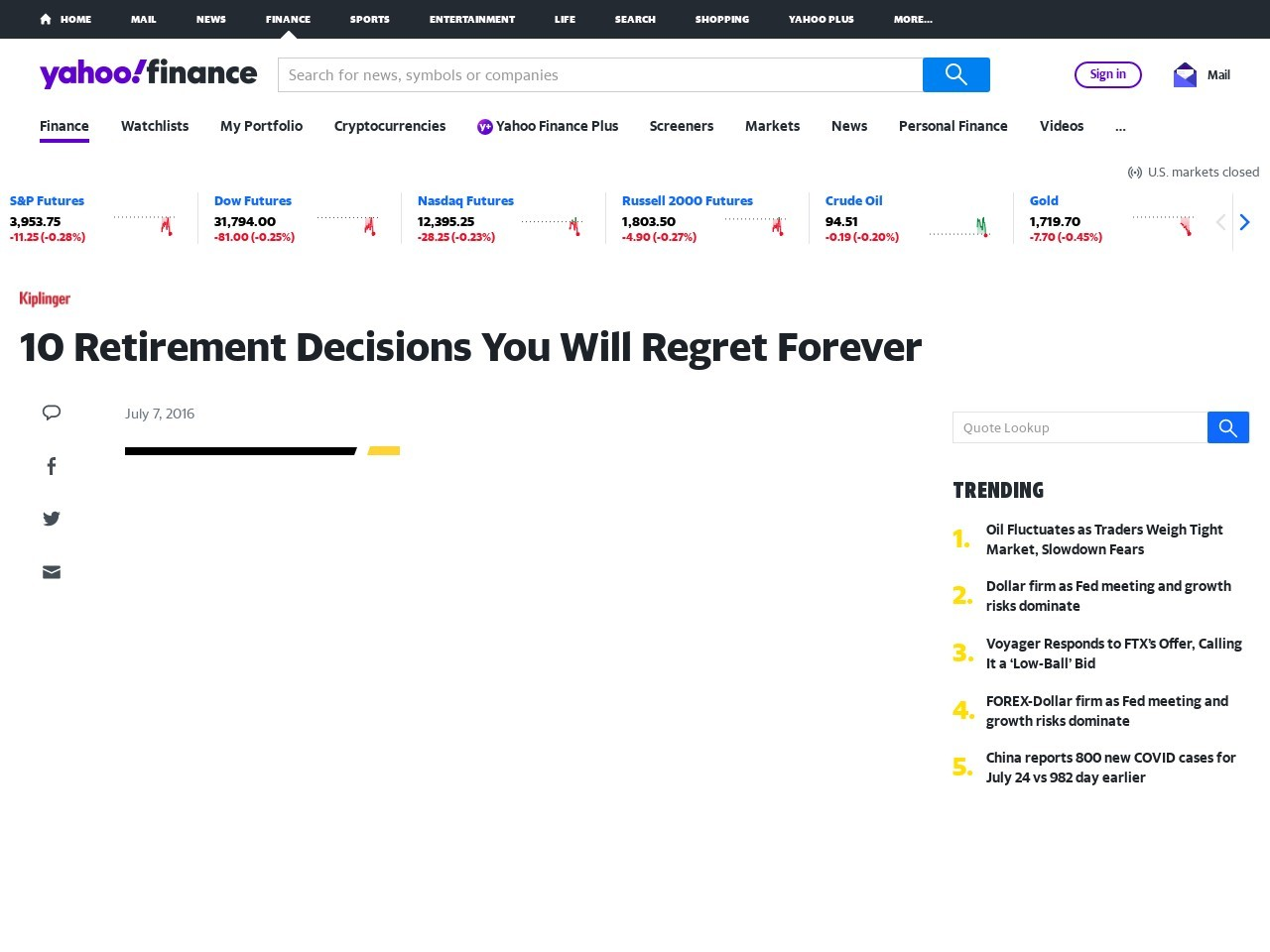 10 Retirement Decisions You Will Regret Forever