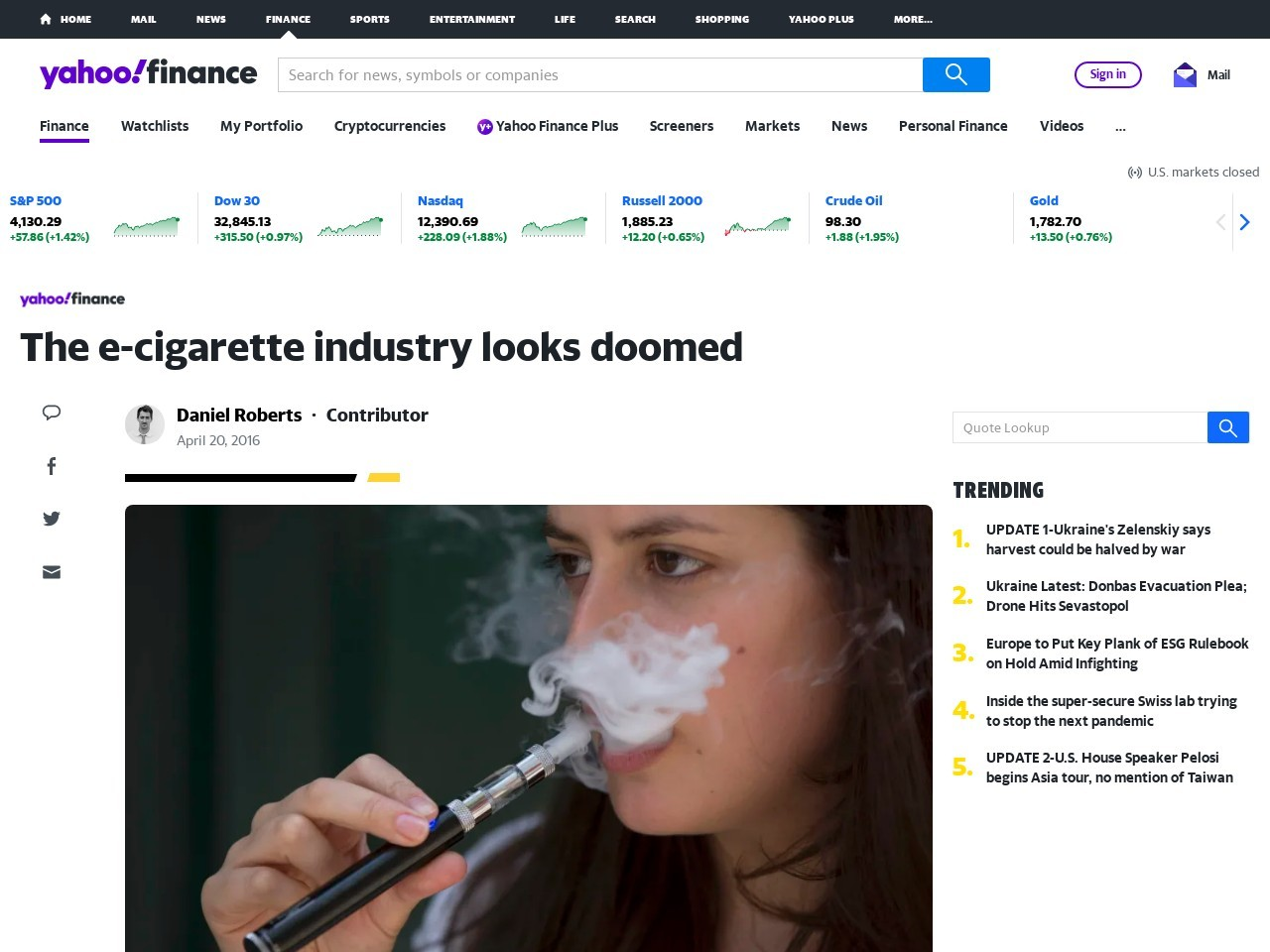 Big Drop In E-Cigarette Fervor?