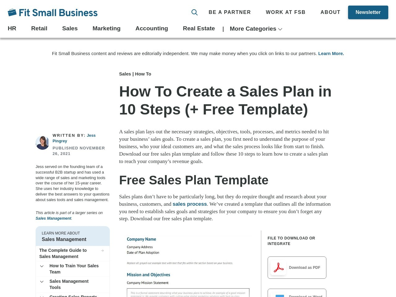 Sales Plan Template – How to Create a Sales Plan to Drive Business Growth