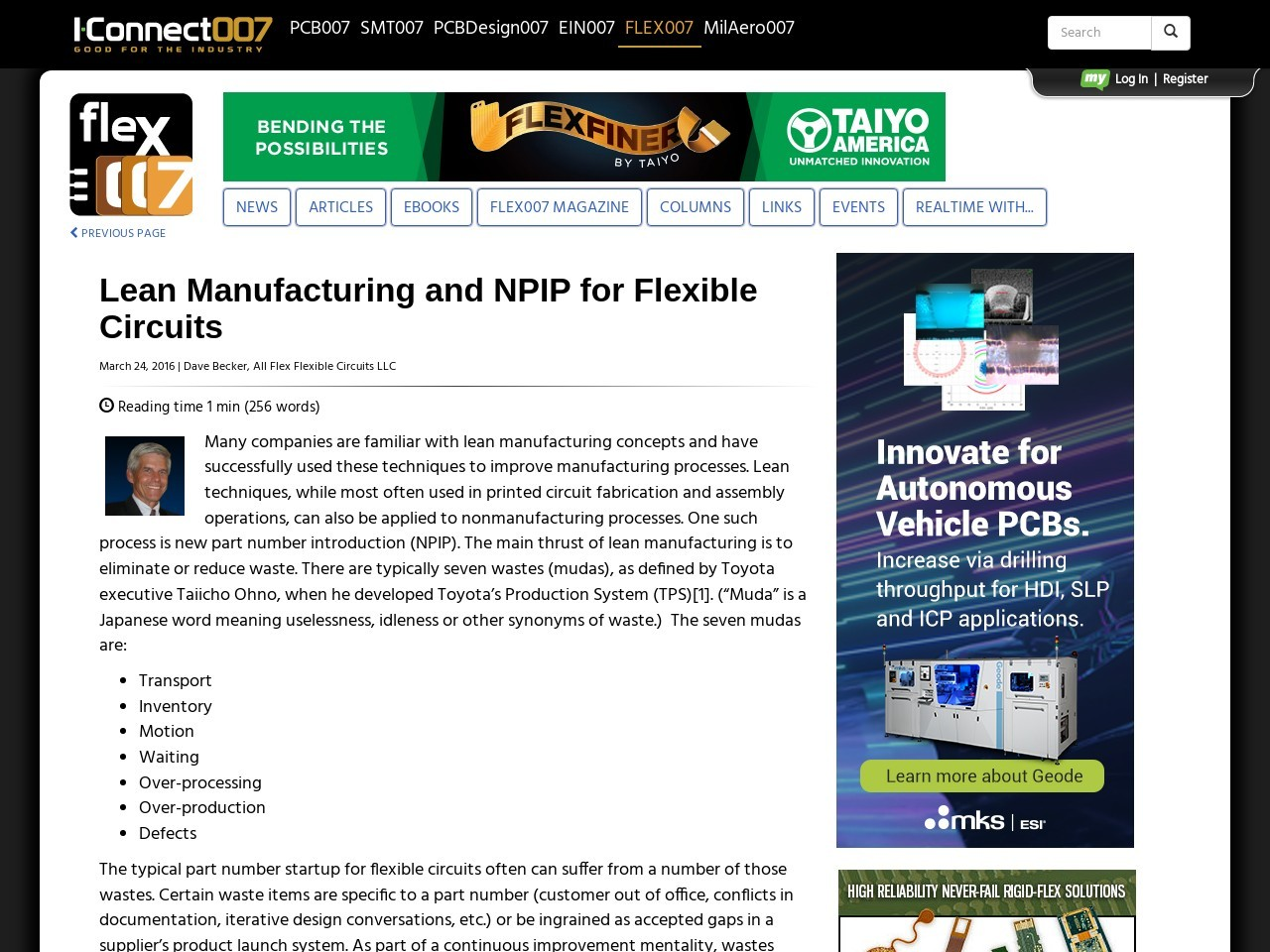 Lean Manufacturing and NPIP for Flexible Circuits