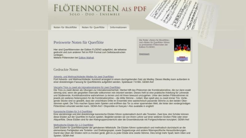 floetennoten.net Vorschau, Flötennoten