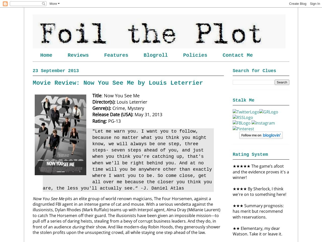 Foil the Plot: Movie Review: Now You See Me by Louis …