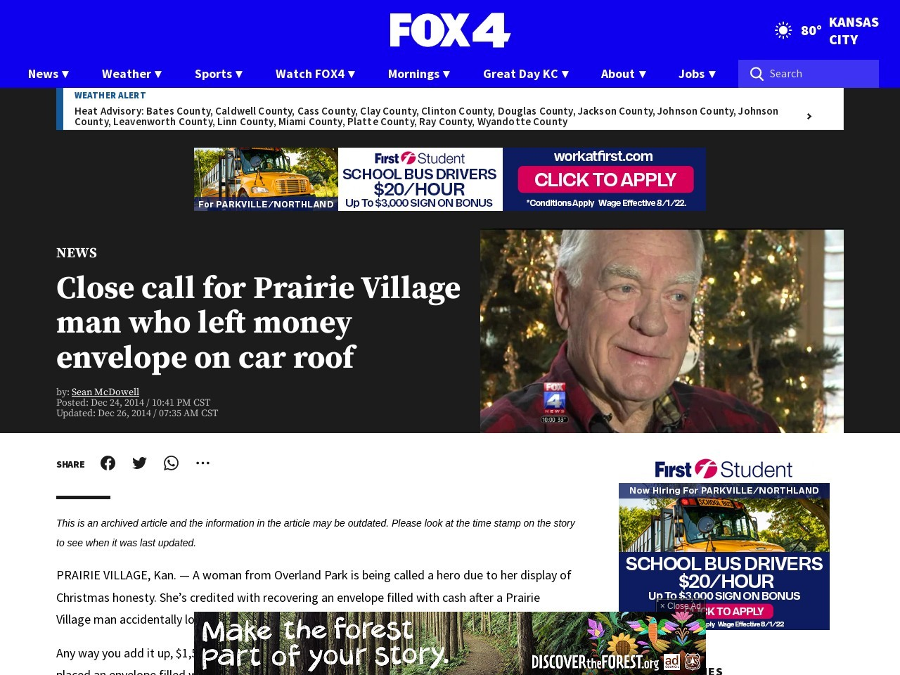 Close call for Prairie Village man who left money envelope on car roof