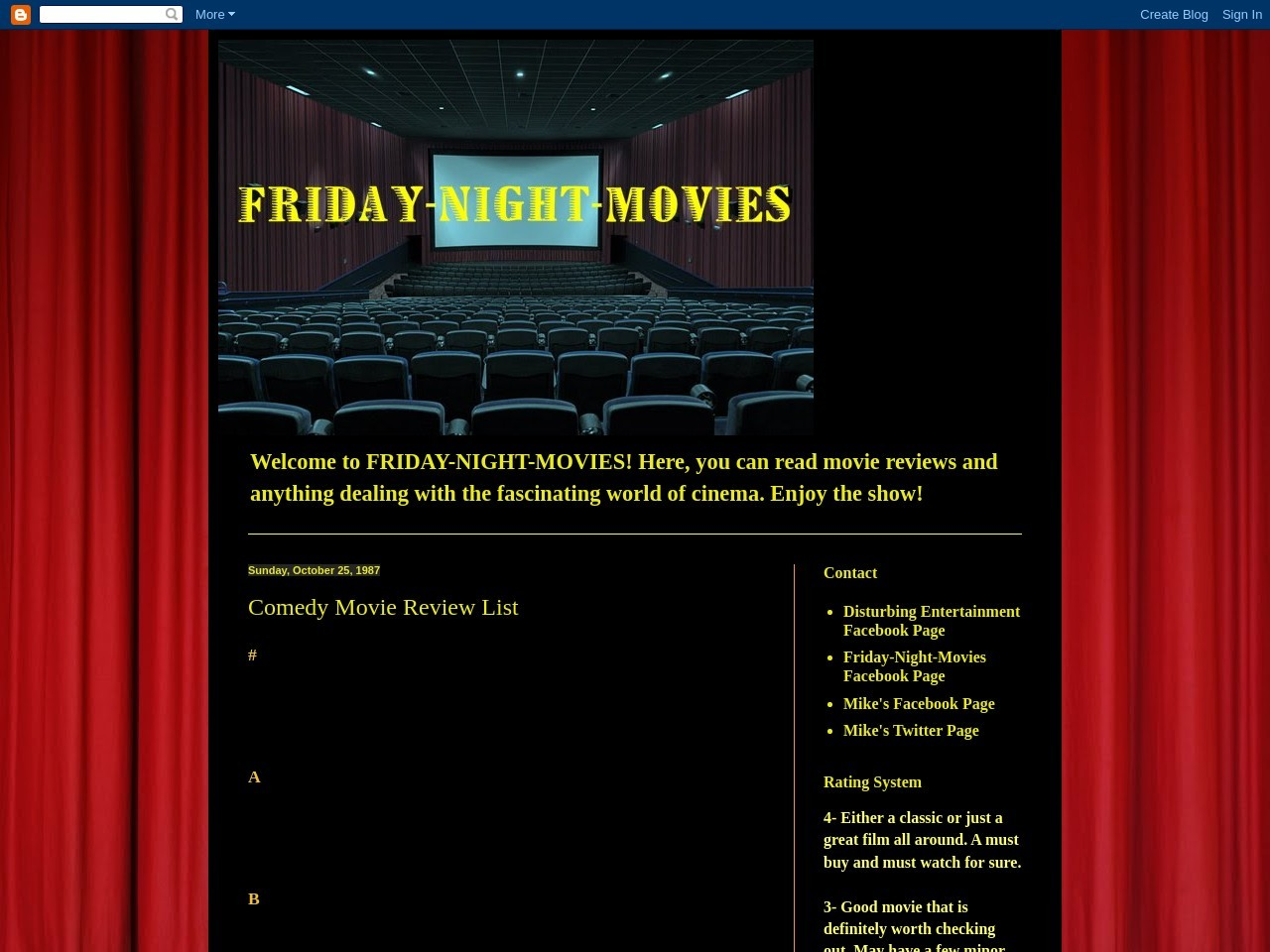 Friday-Night-Movies: Comedy Movie Review List