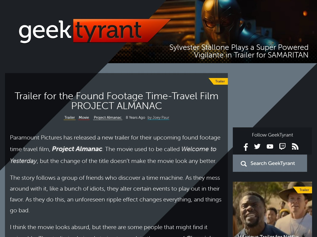 Trailer for the Found Footage Time-Travel Film PROJECT …