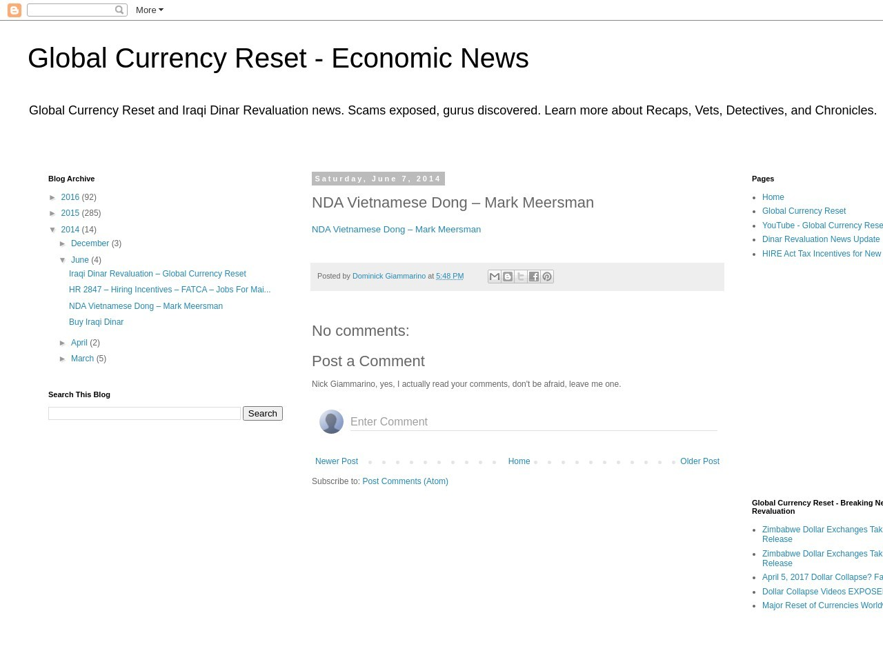 Global Currency Reset – Overview: NDA Vietnamese Dong …