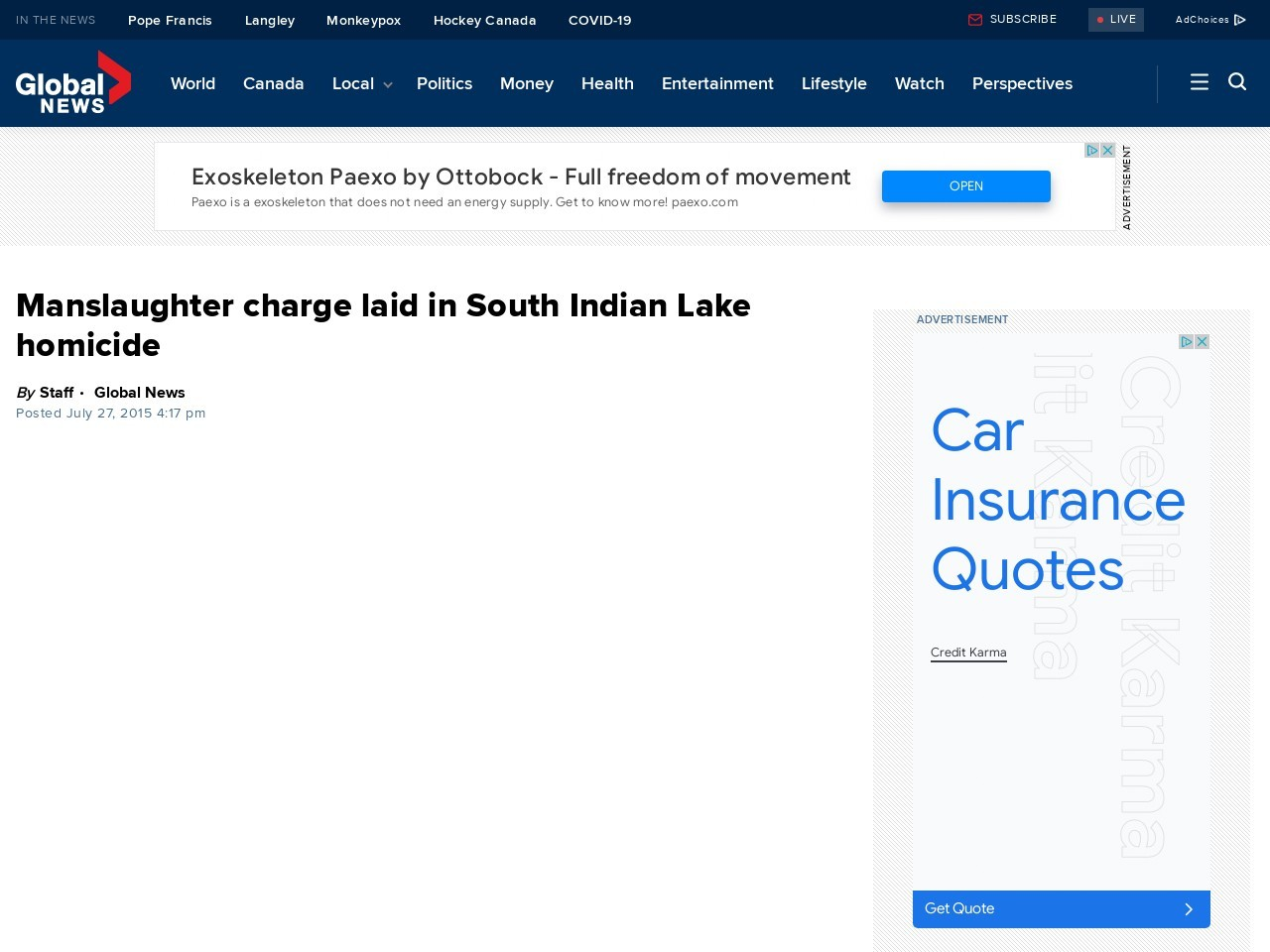 Manslaughter charge laid in South Indian Lake homicide