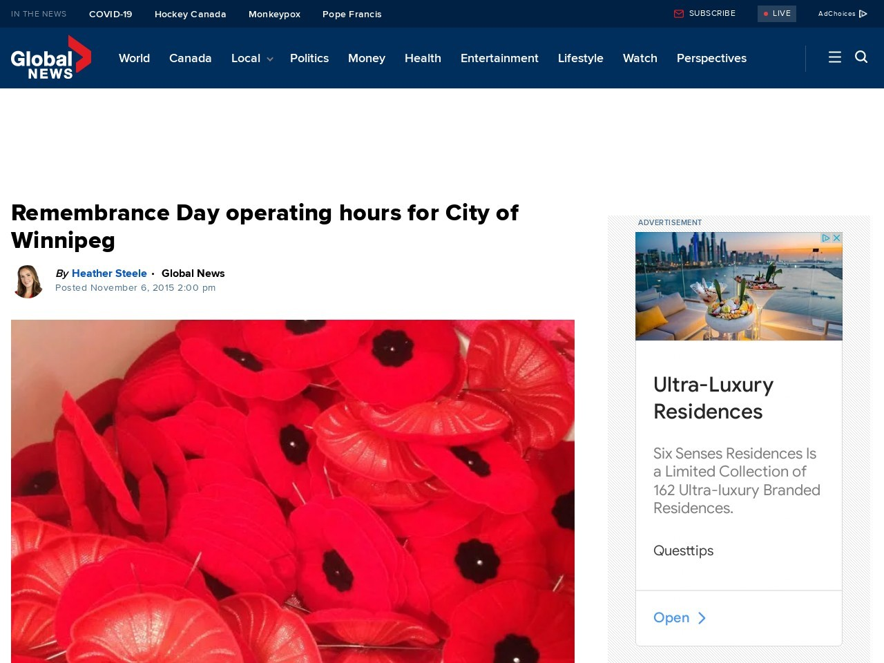Remembrance Day operating hours for City of Winnipeg …