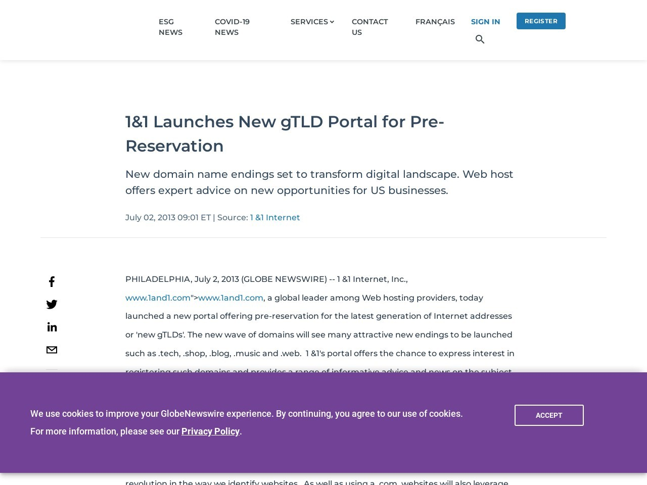 1&1 Launches New gTLD Portal for Pre-Reservation
