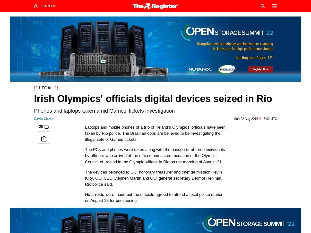 Irish Olympics' officials digital devices seized in Rio