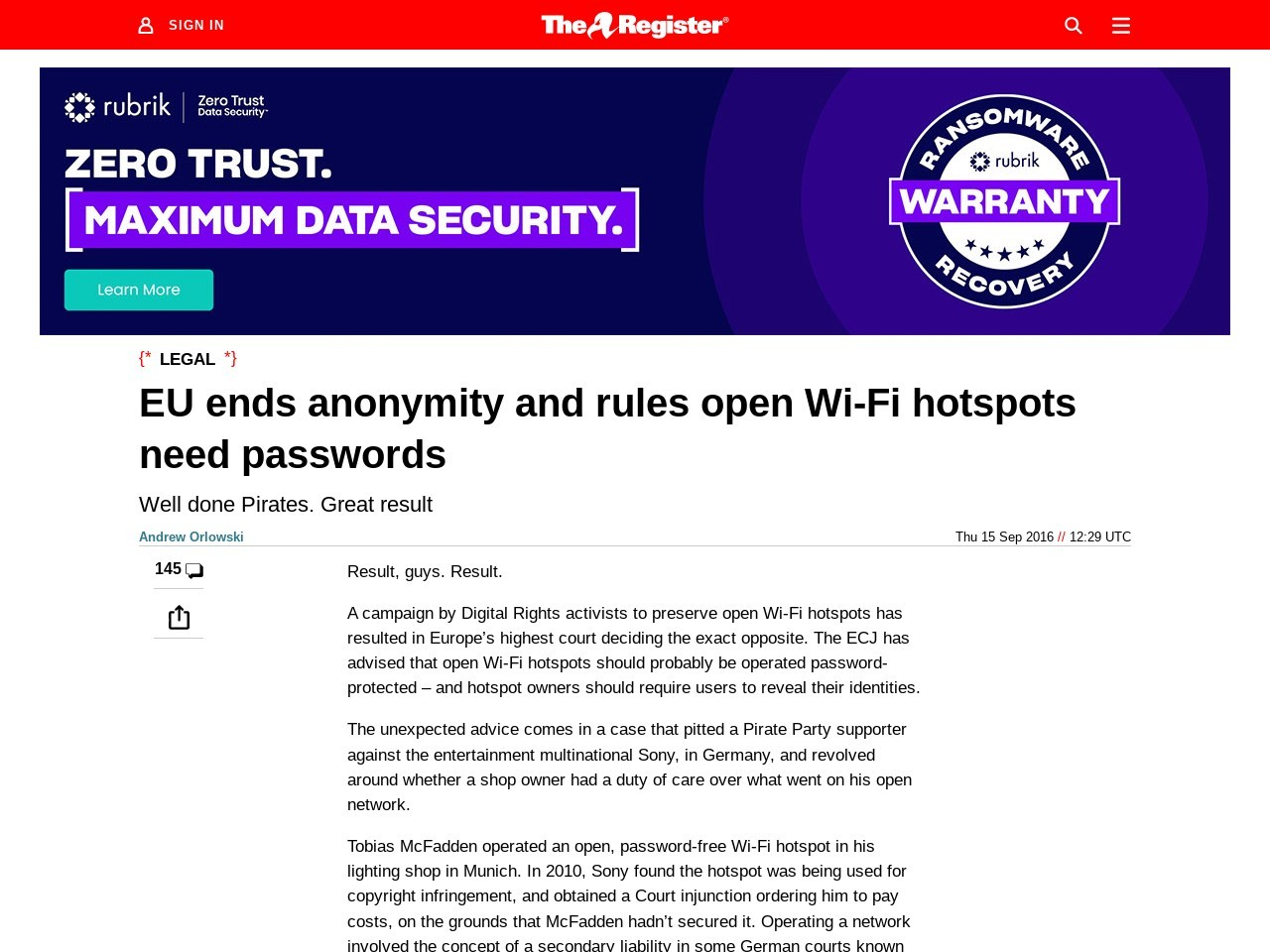 EU ends anonymity and rules open Wi-Fi Hotspots need a password