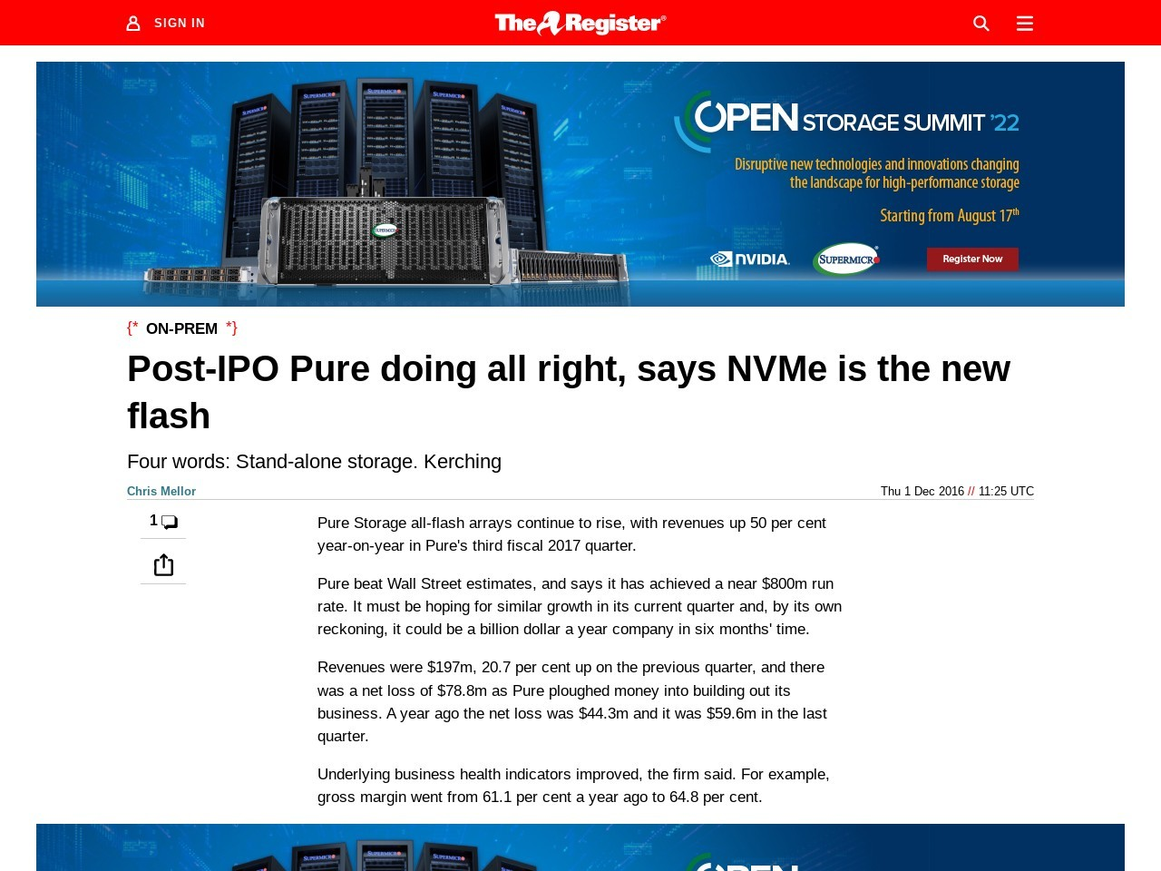 Post-IPO Pure doing all right, says NVMe is the new flash