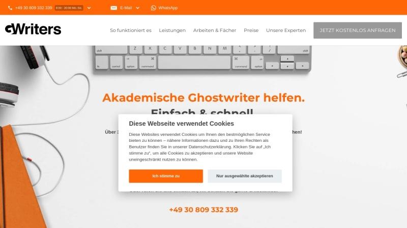 gwriters.de Vorschau, GWriters - Portal für akademische Freelancer (Lektoren, Korrekturen, Autoren, Übersetzer)