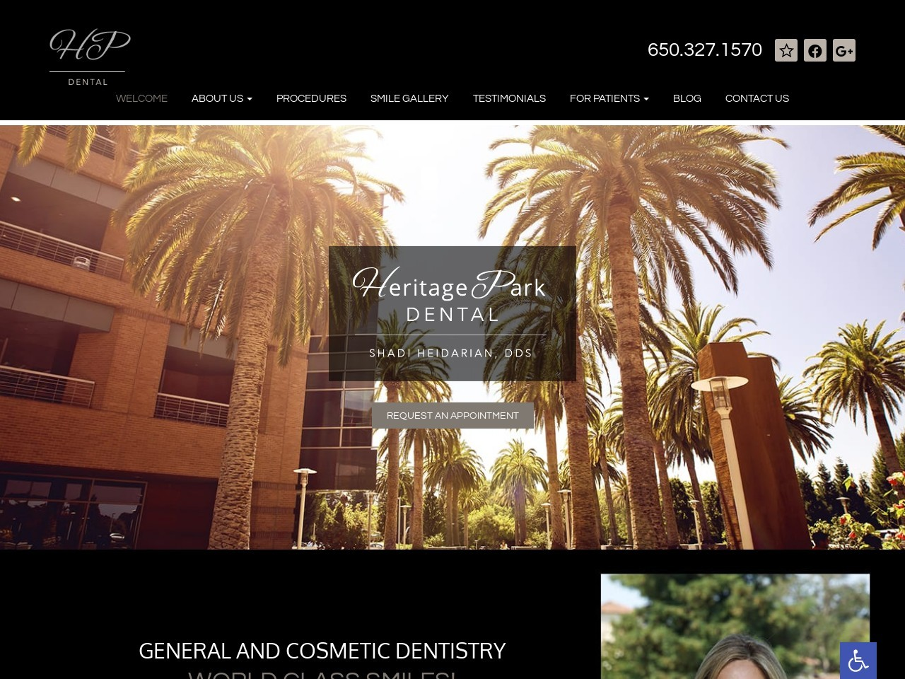 heritageparkdental.com/ screenshot