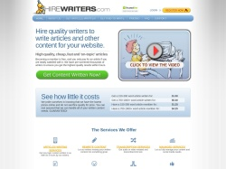 HireWriters.com screenshot