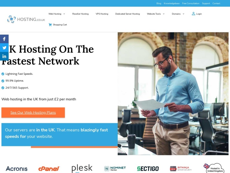 Hosting.co.uk screenshot