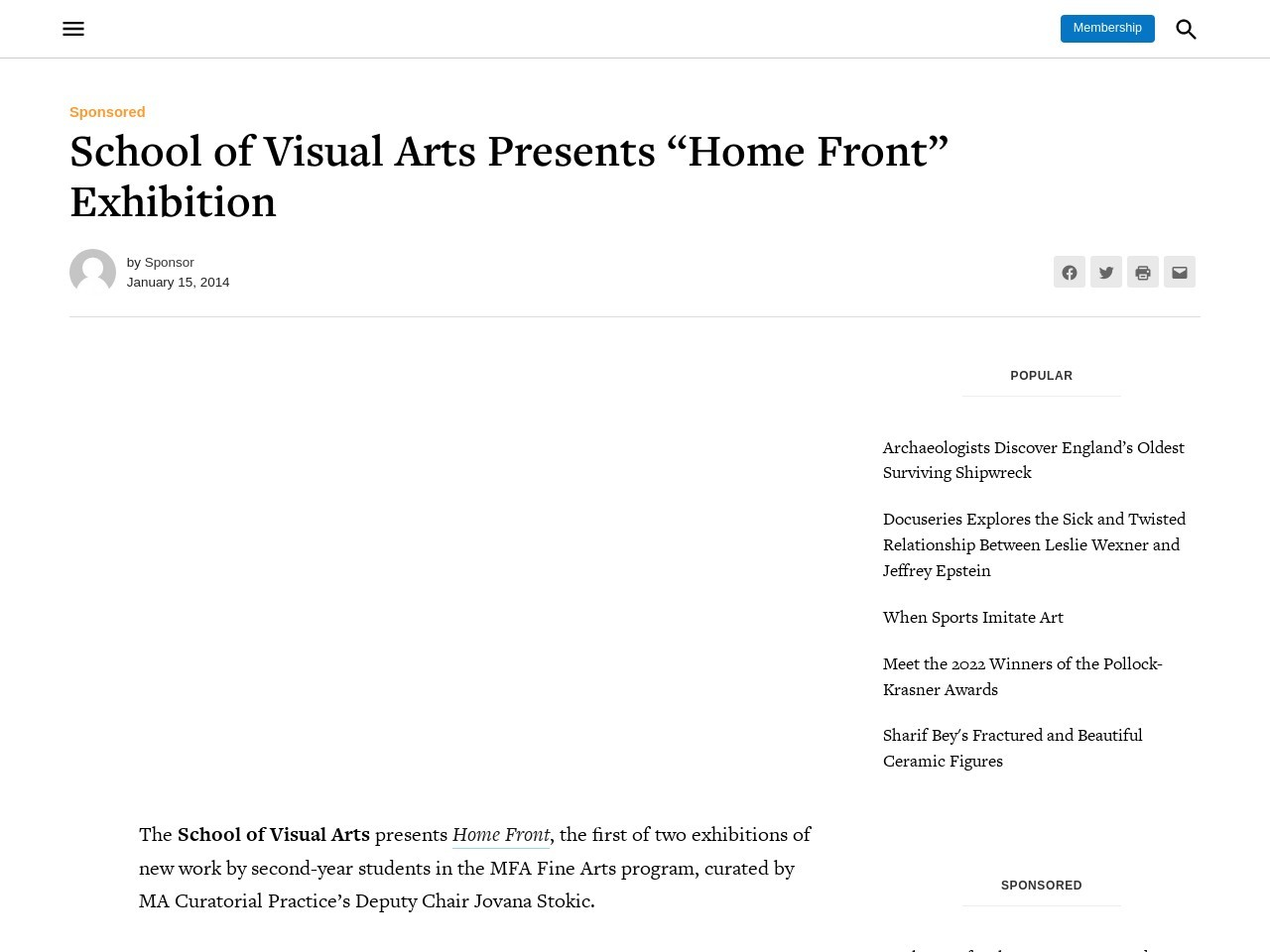 """School of Visual Arts Presents """"Home Front"""" Exhibition – Hyperallergic"""