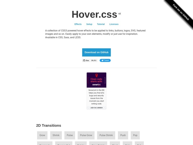 Hover.css – A collection of CSS3 powered hover effects