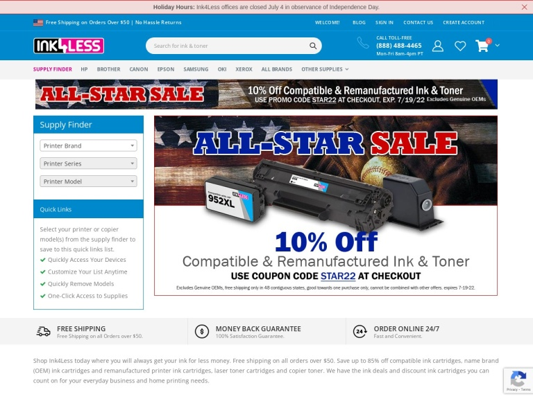 Ink4less.com screenshot