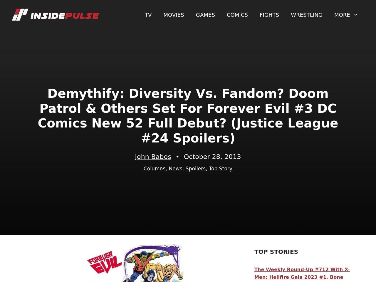 Demythify: Diversity Vs. Fandom? Doom Patrol & Others Set For Forever Evil #3 …