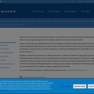 Danaher Corporation Investors - CONFLICT MINERALS POLICY STATEMENT