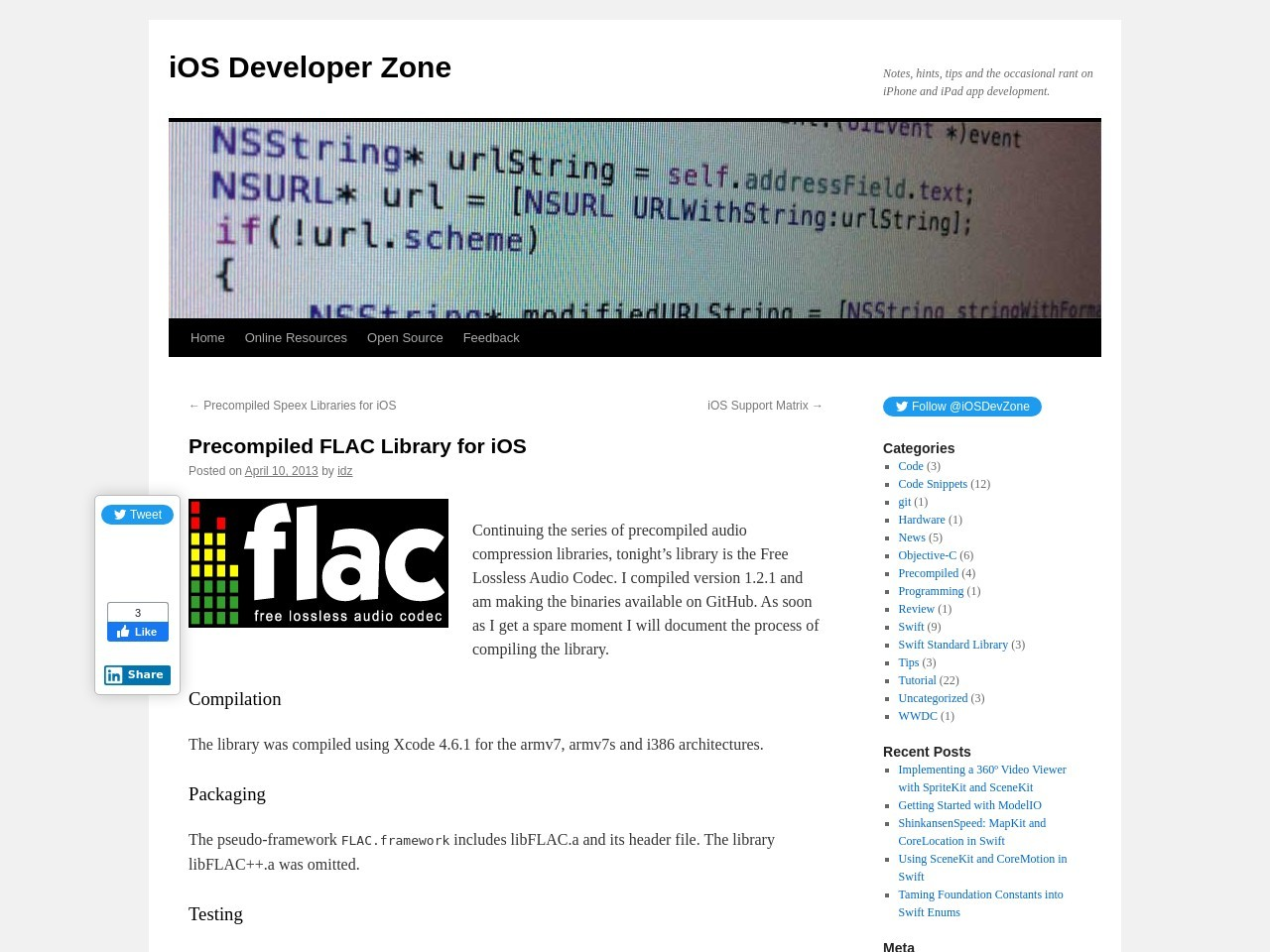 Precompiled FLAC Library for iOS | iOS Developer Zone