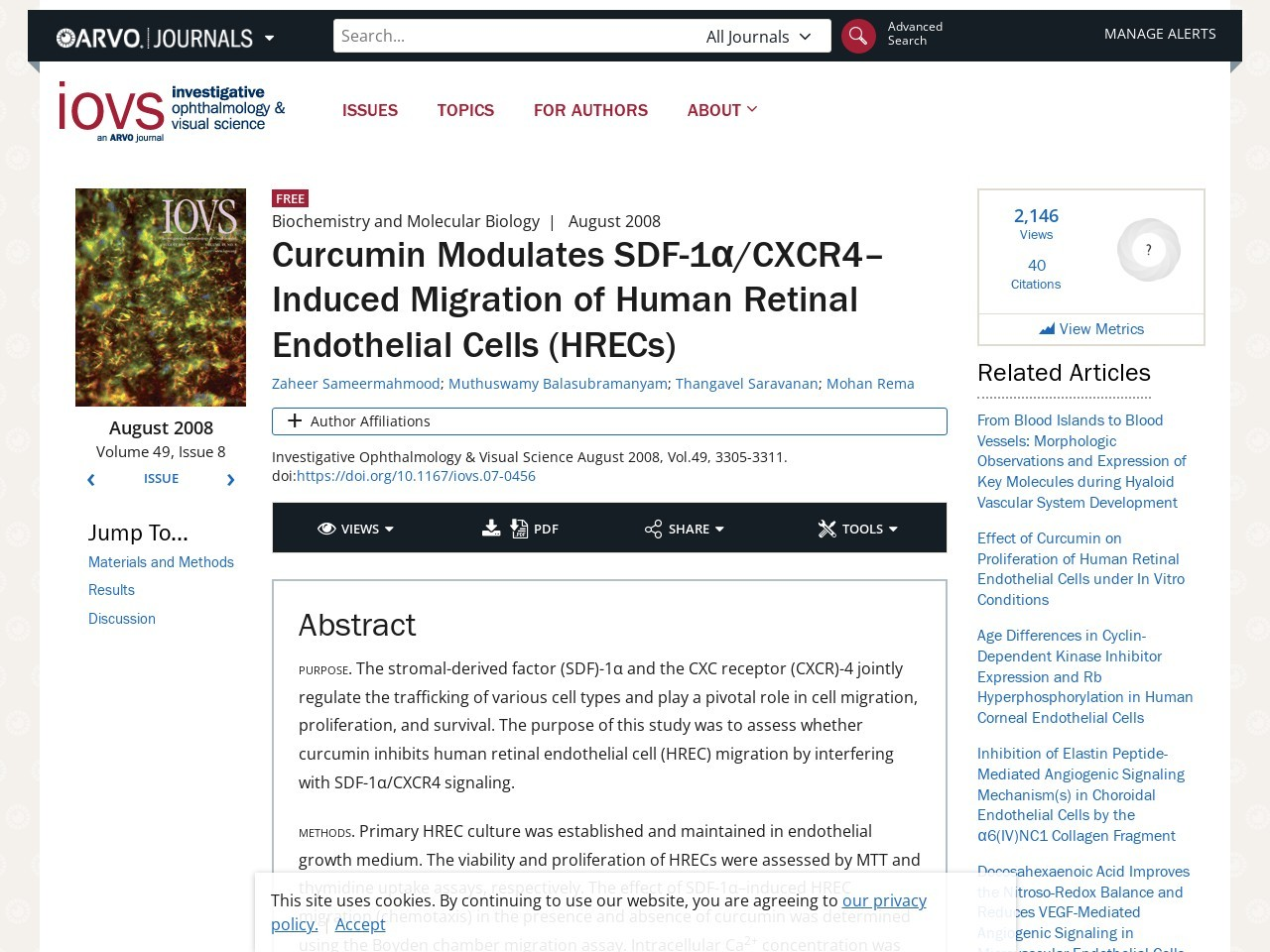 IOVS | Curcumin Modulates SDF-1α/CXCR4–Induced …