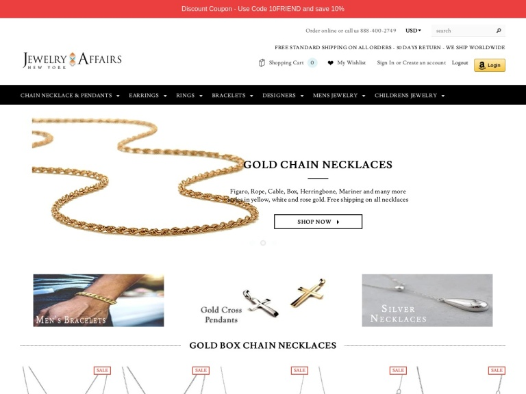 Jewelry Affairs-Jewelry Affairs- 2019 Holidays Discount Coupon – 20% Off on all orders and Free Shipping