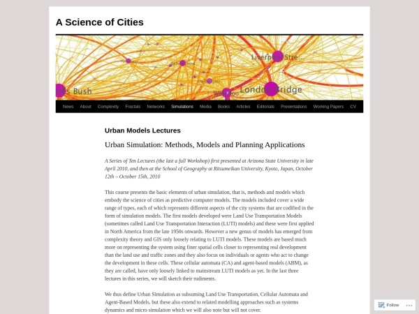 http://jmichaelbatty.wordpress.com/simulations/urban-models-lectures/