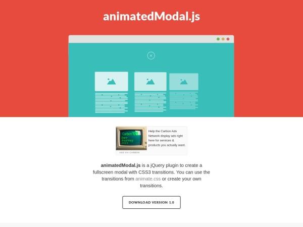 http://joaopereirawd.github.io/animatedModal.js/