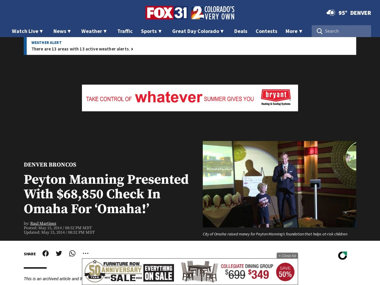 Peyton Manning Presented With $68850 Check In Omaha For 'Omaha!'