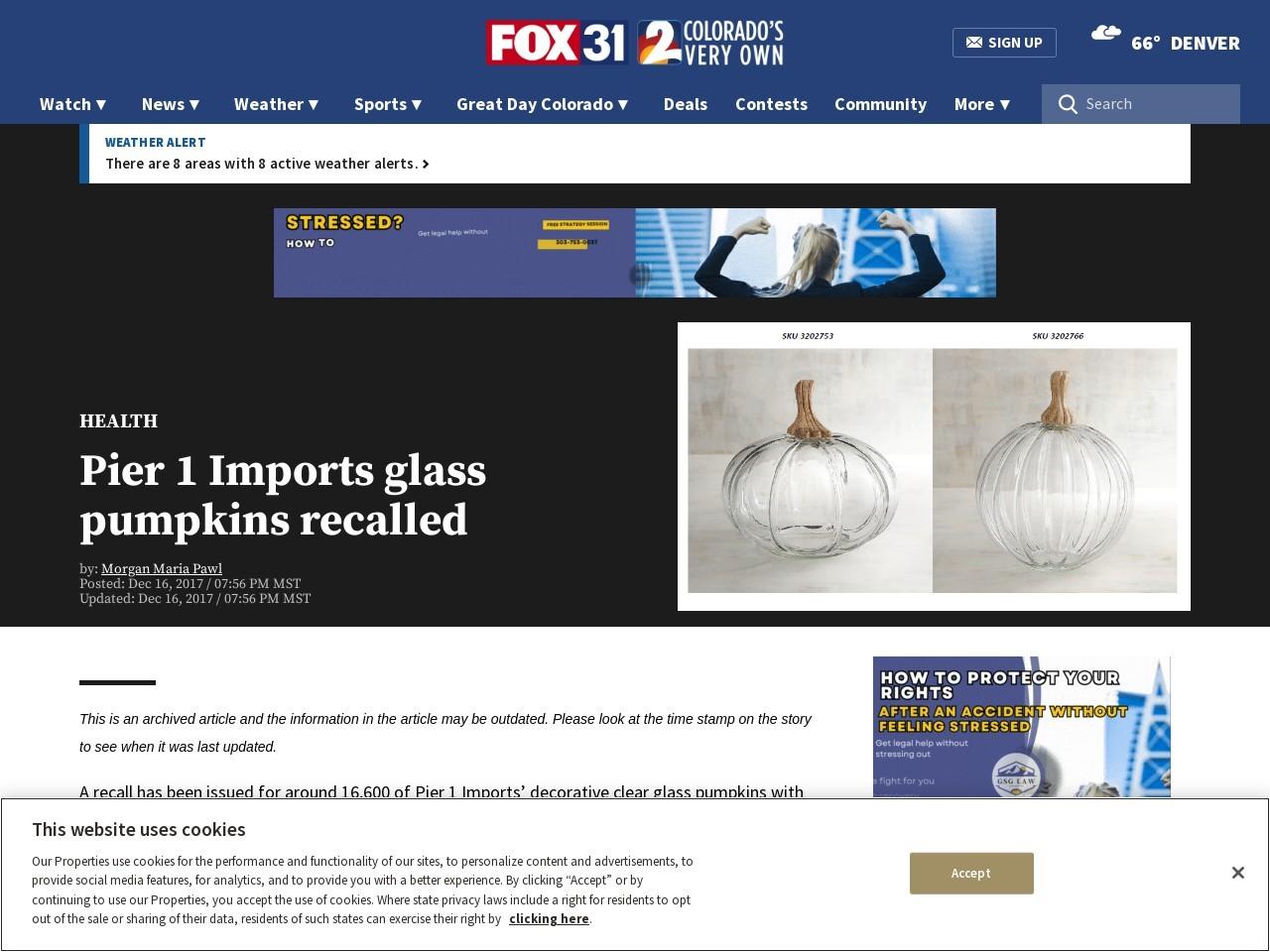 Pier 1 Imports glass pumpkins recalled