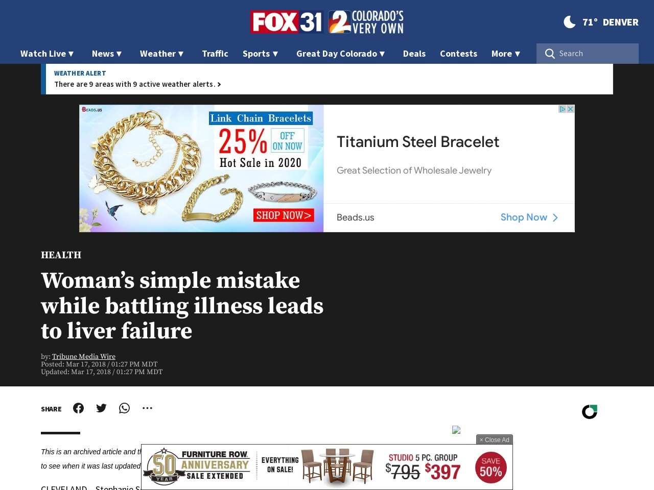 Woman's simple mistake while battling illness leads to liver failure