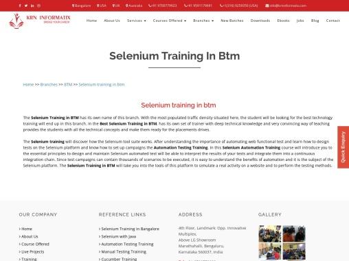 KRN informatix   Selenium training in btm