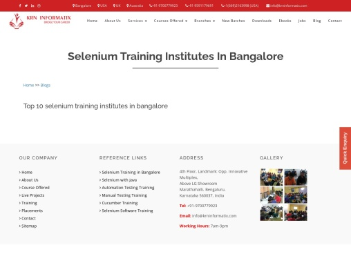 KRN Informatix Course Offered – Manual Testing,Selenium,Cucumber,Java,Real Time Projects