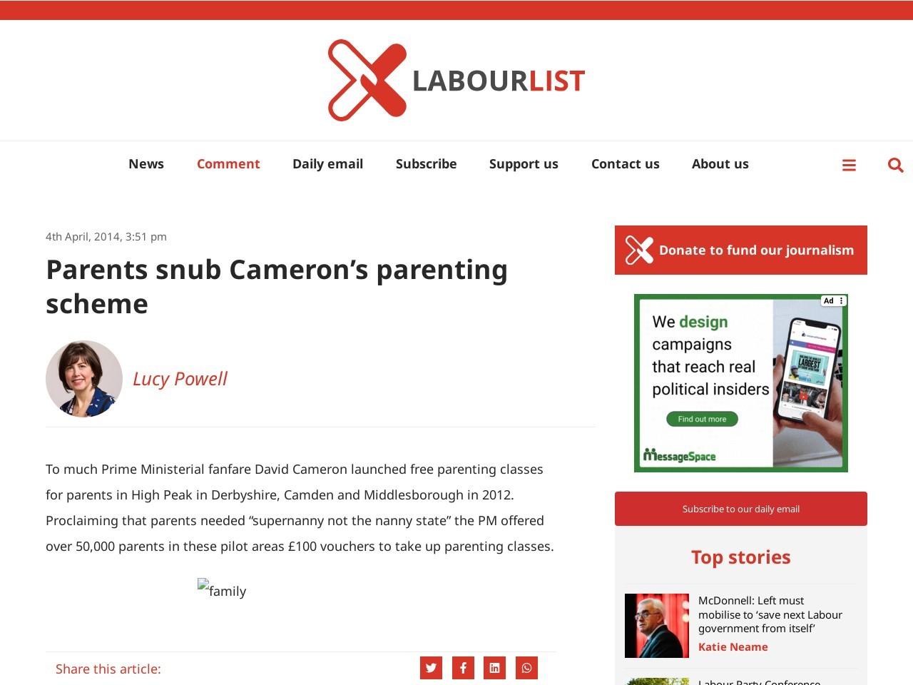 Parents snub Cameron's parenting scheme | LabourList