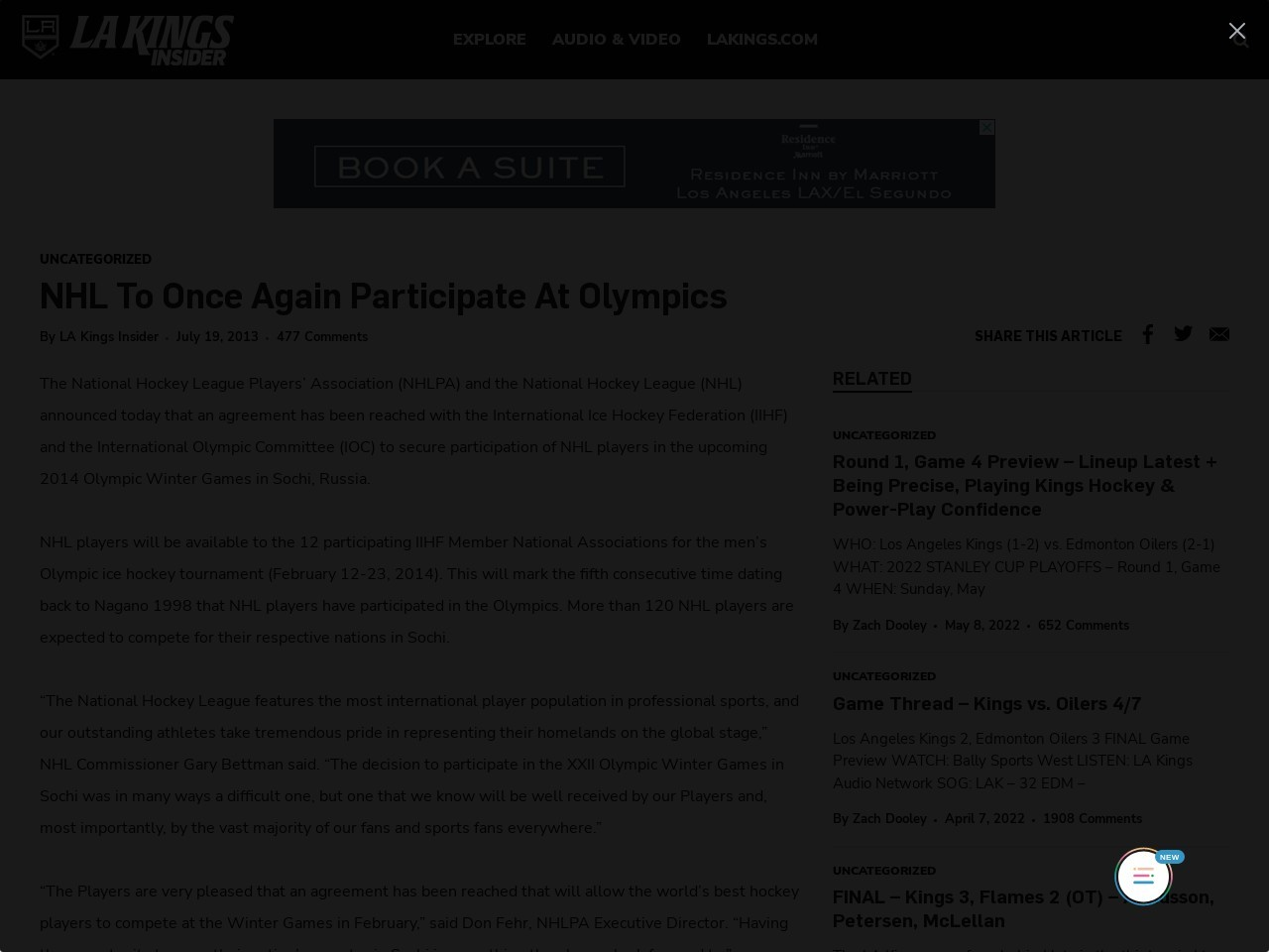 NHL To Once Again Participate At Olympics « LA Kings Insider